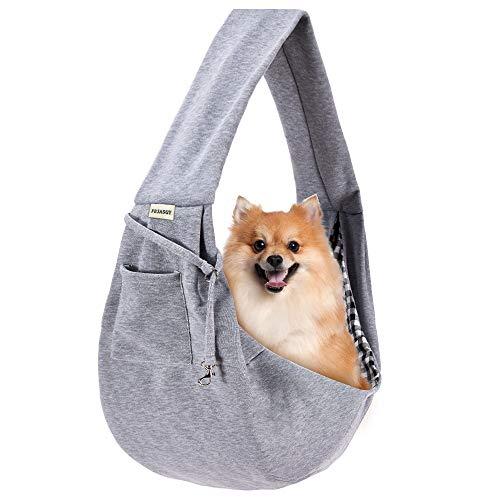 FDJASGY Transporttasche für kleine Haustiere, freihändig, wendbar, mit einer Tasche, Sicherheitsgurt für Hunde und Katzen, Kohlegrau