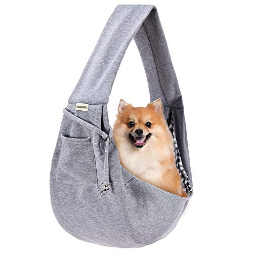 FDJASGY Small Pet Sling Carrier-Hands Free Reversible Pet Papoose Bag Tote Bag with a Pocket Safety Belt Dog Cat for Outdoor Travel Charcoal Gray