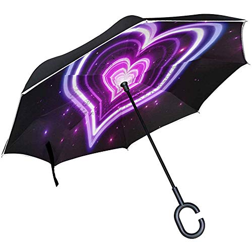 Reverse Umbrella HD Neon Love Wallpaper Inverted Umbrella Reversible for Golf Car Travel Rain Outdoor Black
