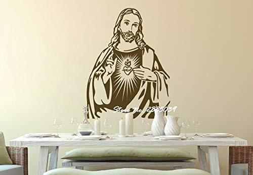 jtxqe Porträt Von Jesus Christus Klassischer Jesus Sweet Home Zitat Wandtattoo Selbstklebendes Vinyl Verwendet Für Kinder Mädchen Schlafzimmer Dekoration 42X52Cm