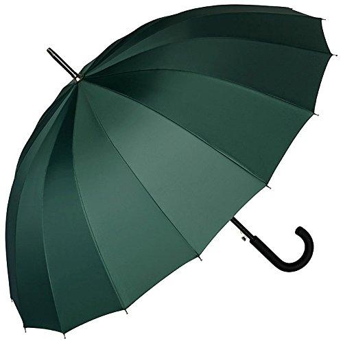 VON LILIENFELD® Ombrello Pioggia Lungo Classico Grande Automatico Donna Uomo Stabile Classico 16 Segmenti Devon verde militare