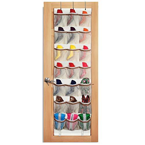 Smart Design Over-The-Door Organizer w/ 42 Pockets w/ Elastic Trim & Hanging Hooks - VentilAir Mesh Fabric - Shoes, Pantry, & Closet Storage - Home Organization (21 x 73 Inch) [Beige w/ Brown]