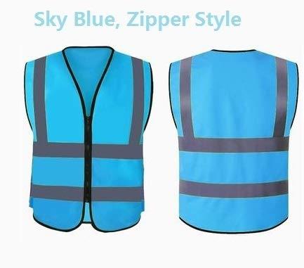 Alta visibilidad chaleco reflectante Hombres ajustable Correr Ciclismo transpirable Tela advertencia de seguridad chaleco de la Noche de Trabajo (Color : Sky Blue)