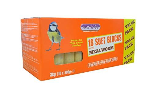 Suet To Go Mealworm Suet Block Wild Bird Treat, 10 x 300 g