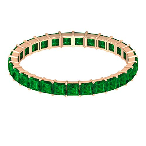 Rosec Jewels 14 quilates oro rosa talla princesa Green Esmeralda creada en laboratorio.