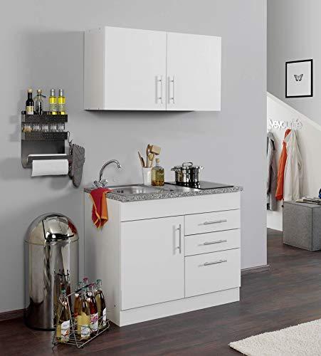 lifestyle4living Singleküche mit Glaskeramikkochfeld   Miniküche 100 cm in Weiß mit Arbeitsplatte, Spülbecken und Kochfeld