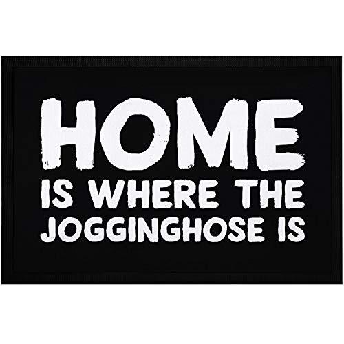 MoonWorks® Fußmatte mit Spruch Home is Where The Jogginghose is lustiger Aufdruck rutschfest & waschbar schwarz 60x40cm