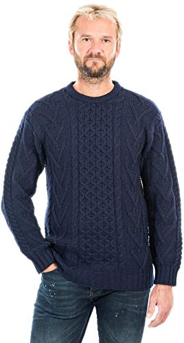 SAOL 100% Irish Merino Wool Men's Traditional Aran Crew Neck Cable Knit Sweater Pullover (Navy, Large)