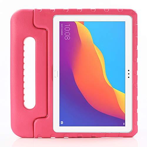 ZiHang Funda Infantil Huawei Mediapad T5 10, Carcasa Niño Antigolpes con Asa Convertible Tapa de Soporte, Funda Bebé Ligera para Huawei Mediapad T5 10 (Rosa roja)