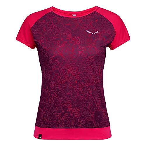 Salewa PEDROC Print Dry W S/S Tee Femme, Virtual Pink Flower, FR : L (Taille Fabricant : 40/34)