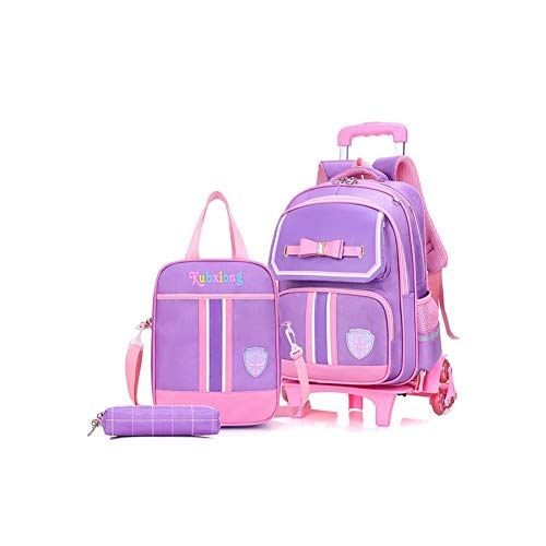 Roller 3 PCS Kids Luggage Set Carry On Trolley Suitcase with Backpack and Small Storage Bag Waterproof Suitcase with 6 Wheels and Retractable Handle Cases (Color : Purple)