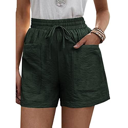 Pantalones Cortos Casuales De Verano para Mujer Pantalones Anchos De Pierna Ancha con Bolsillo Suelto De Cintura Alta De Color SóLido