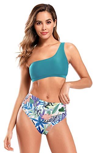 SHEKINI Halter Costume da Bagno Donna da Spiaggia Elegante Monospalla Bikini Top Chic Costumi Due Pezzi Donna A Vita Alta Stampati Fondo Bikini Beachwear (Verde Scuro, XL)