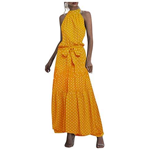 Maxi vestidos de verano para mujer  cuello redondo  halter vintage  estampado floral  sin mangas  casual  vestido midi  C-maxi  amarillo  Small