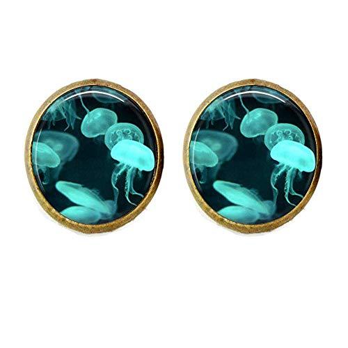 Pendientes de plata hechos a mano con diseño de medusas de Velella, color azul