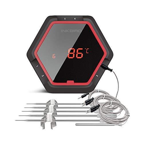 Inkbird IBT-6XS Edelstahldraht Barbecue Ofenthermometer mit Bluetooth Grill Smoker BBQ Kochen Thermometer + Fleisch Temperaturfühlern für iPhone Android Smartphone (IBT-6XS+6 Barbequefühler, Rot)