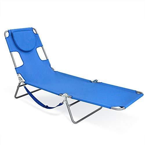 Sigtua, Strandstuhl mit hoher Rückenlehne Campingstuhl mit Armlehnen, Sonnenliege, tragbarer Klappstuhl, Relaxliege, Strandliege, Gartenstuhl, Liegestuhl für Outdoor-Aktivitäten Blau