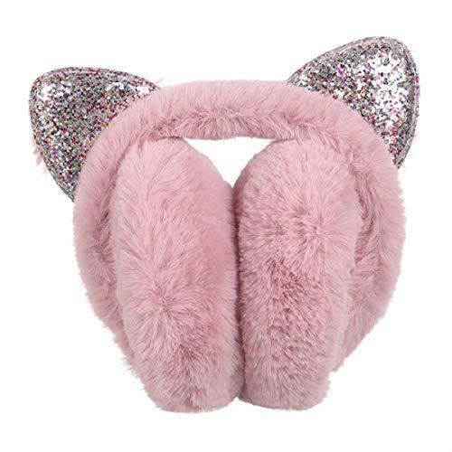 Peakpet Ohrenwärmer für Erwachsene Damen Mädchen, Winter Plüsch Ohrenschützer faltbare Cartoon Pailletten Katzeohren Ohrenwärmer Winddicht Earmuffs Ohrenschutz Geschenk(Dunkel-rosa)