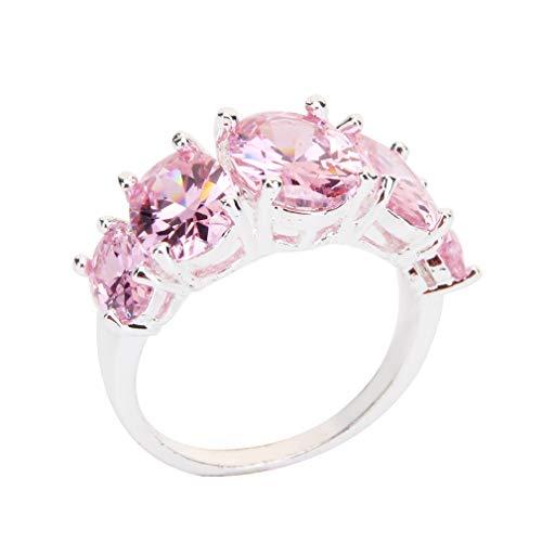 Weisin - Anillo de Compromiso de Diamante Artificial Redondo geométrico con Forma de Cubo para Novia, circonitas únicas, para Mujer, Aleación, Rosa, 6