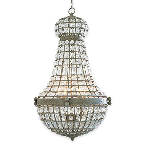 Loberon Leuchter Perreux, Glas/Eisen, H/Ø ca. 85/50 cm, klar/antikgrau, Energieeffizienzklassen A++ bis E
