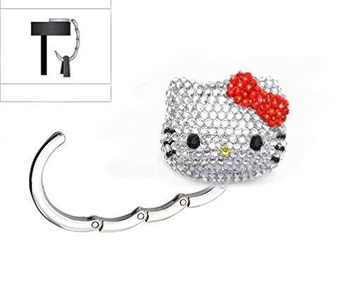 LOVEKITTY 3D Hello Cutie Fully Blinged Out Foldable Kitty Inspired Purse Holder, Purse Hook, Handbag Hanger, Purse Table Hook (Red/Rhinestones)