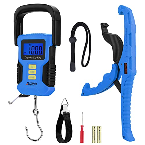 RUNCL Waterproof Fishing Scale with Lip Gripper, Fluorescent Button Digital Fish Scale 110lb/50kg - Backlit LCD Display, 40in Tape Measure - Hanging Scale for Home and Outdoor(Blue)