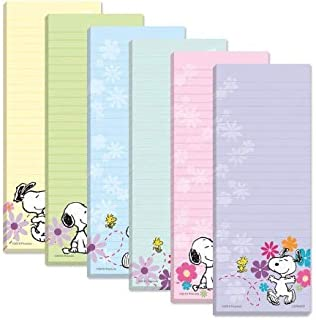 Peanuts Worldwide Snoopy and Woodstock Spring Flowers Lined Magnetic Notepads Shopping List, 6-Pack