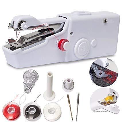 HOOK i Sewing Machine Electric Handheld Sewing Machine Mini Handy Stitch Portable Needlework Cordless Handmade DIY Tool Cloths Portable,white