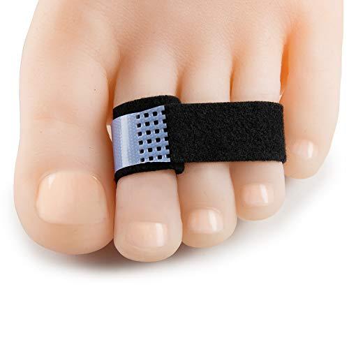Welnove - Férula para dedo de martillo, vendas acolchadas, envoltura para dedo de martillo, dedos en garra y dedos superpuestos, negro, 10 unidades