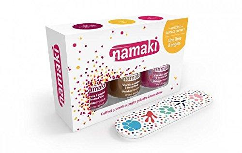 NAMAKI - Cofanetto con 3 Smalti a base acquosa - Fragola, Oro, Fucsia - Con una simpatica lima per unghie - Facili da applicare - Asciugano rapidamente - Nessun additivo chimico nocivo - 22,5 ml