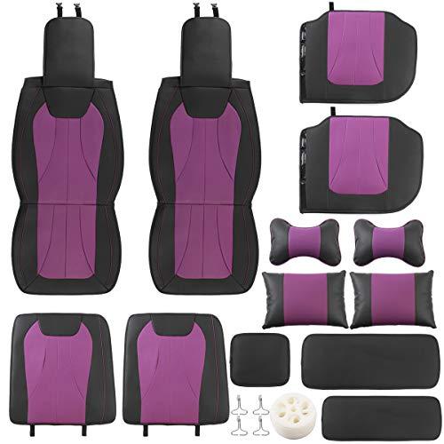 DFYYQ Coche de Asiento de Cuero de PU 13 unids PU Conjunto Completo Frente Trasero con cojín de Cintura Almohada Universal para 5 Asientos (Color : Purple+Black)