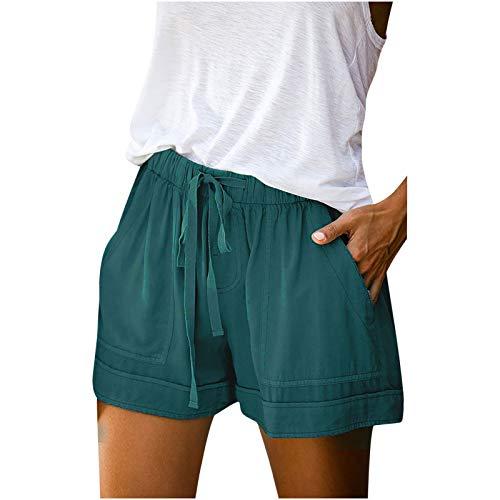 Damen Shorts Sommer Kurze Hose Hohe Taille Solide Druckt Pyjama Shorts...