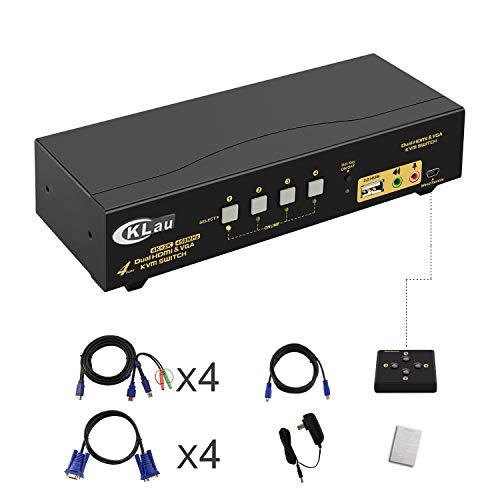 CKLau 4 Port VGA HDMI Dual Monitor KVM Switch Extended Display with Audio, Microphone, USB 2.0 Hub and Cables Support 4Kx2K@30Hz