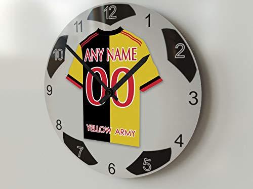 FanPlastic EPL Premier League Fußball-Uhr, groß, Design für alle Teams, Fußball-Uhrwerk !, Watford FC Wanduhr, groß