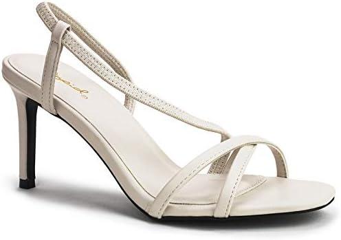 Qupid Backfire Heels for Women - Strappy Slingback Mid Heel Stiletto Sandals