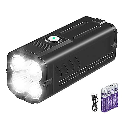 SuperFire M20 Hellste Taschenlampe Wiederaufladbare 6000 Lumen 4 LED Taschenlampe USB Aufladbar Eingebaut 10400mAh Batterie und Kabel, 6 Modi