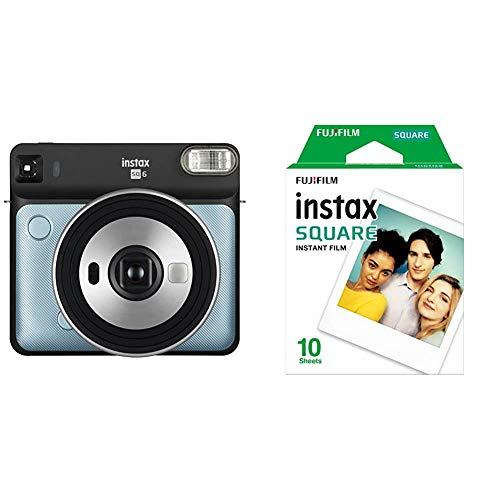 Fujifilm Instax SQ 6 EX D Sofortbildkamera, Aqua Blau & Instax Square WW 1 Film, Weiß