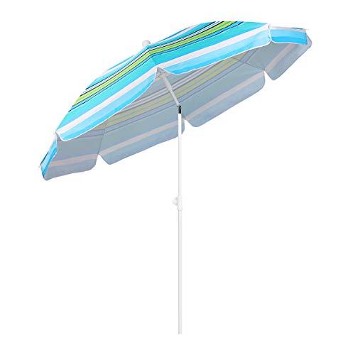 Sekey Ombrellone Ø 200 cm Tondo Ombrello Parasole da Esterno da Giardino da Spiaggia Strisce Verdi Blu Protezione Solare UV25+