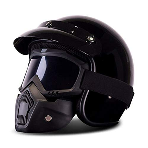 OLEEKA Casco de motocicleta retro vintage 3/27 Cara abierta Moto Cafe Racer Cruiser Chopper Moto Casco con visera