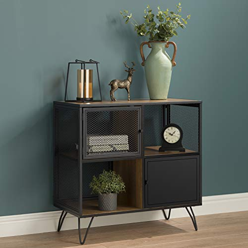 Racking Solutions Wire Mesh Industrial Home Storage Cube Cabinet With Hairpin Legs - Oak Effect & Black Metalwork 790mm H x 800mm W x 400mm D