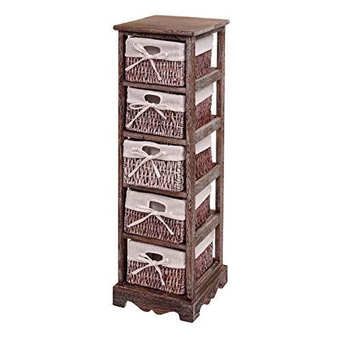 Mendler Regal Kommode mit 5 Korbschubladen 90x25x28cm, Shabby-Look, Vintage - braun