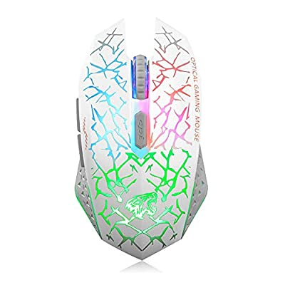 Q8 Wireless Gaming Computer Mouse, 2.4GHz USB Optical Rechargeable Ergonomic LED Wireless Silent Mouse, 3 Adjustable DPI, 6 Buttons, Compatible with PC, Laptop, Notebook, Desktop (White)
