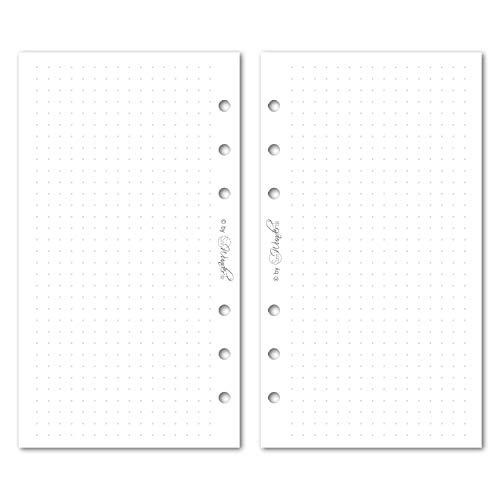 SinnWunder® 50 Blatt Premium Notiz-Papier mit 5 mm Punktraster - Für 6-Ring Organizer Größe Personal (9.6 17.2 cm) - Dot Grid, dotted Papier für Handlettering und Bullet-Journaling