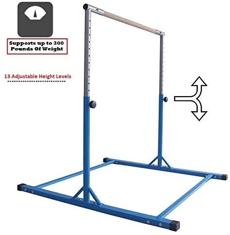 Athletic Bar Gymnastics Kip Bar Horizontal Bar Professional Junior Gymnastic Training High Bar Asymmetric Bar 13 Level Height Adjustable Expandable 3 to 5 FT Indoor Outdoor Use (Blue)