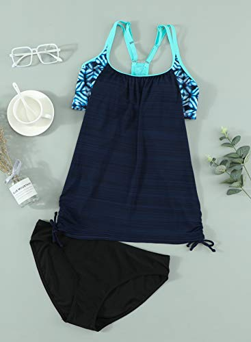 APOONABA Women Two Piece Swimsuit T-Back Tankini Top with Shorts Swimwear Bathing Suits Two Piece Loose Fit Swimwear Navy Blue