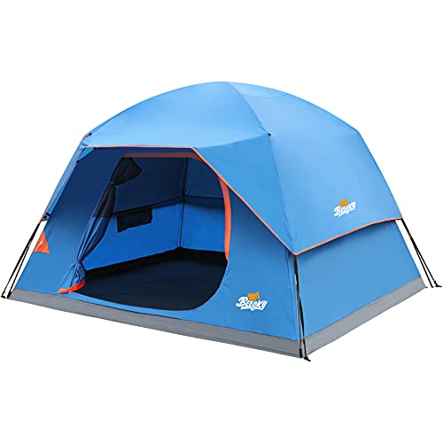 Beesky Tent-6-Person-Camping-Tents, Waterproof Windproof Family Tent with Removable Top Rainfly for Outdoors, Picnic, Friends, Large Mesh Windows, Easy Set Up, Portable with Carry Bag, for All Seasons