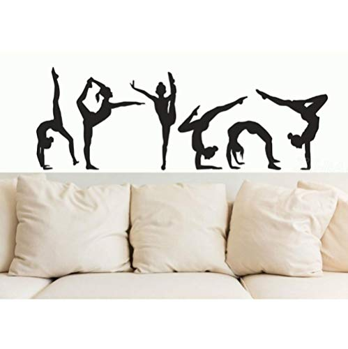 Wall Stickers Six Dance Gymnastics Girls Wall Sticker Sport Vinyl Art Wall Mural Decal For Home decoration Wall Papers Decor Girls Room57x20cm
