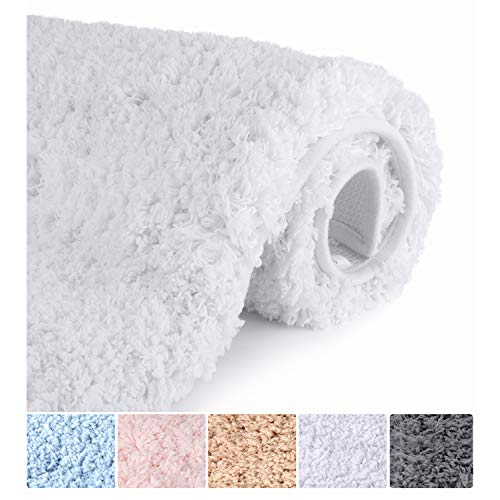 Bathroom Rugs Microfiber Plush Bath Mat Machine Washable, Slip Resistance Rubber and Absorbency Bath Rugs for Bathroom Floor, Door and Sink, Rectangular Floor Mat,White,32'x 20'