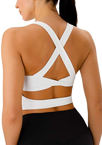 Workout Tops for Women Criss-Cross Back Padded Sports Bras for Women Medium Support Womens Crop Tops White
