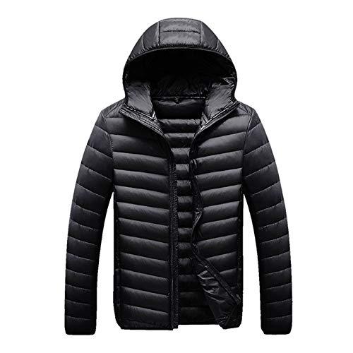 Herren Daunenjacke Winter Koreanische Mode Schlanke Jugendfarbe Mit Kapuze, Lässige, Leichte Herren Daunenjacke,Schwarz,XXL